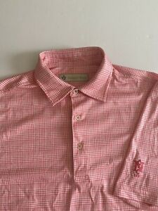 Donald Ross Mens Medium Pink Designed S/S Golf Polo *small flaw*