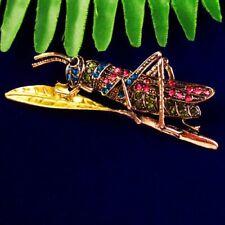 M13516 Rainbow Tibetan Gold Rhinestone Praying Mantis Pendant Bead Brooch