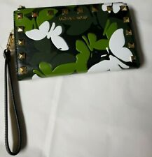 Michael Kors Adele Butterfly Black Green & White Camo Leather Smartphone Wallet