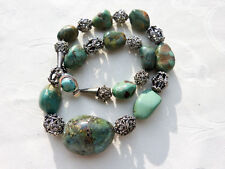 Antique Tibetan Turquoise and antique silver beads necklace