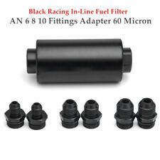 Racing In-Line Fuel Filter With AN 6 8 10 Fittings Adapter 60 Micron Durable Set