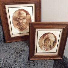 Vtg Home Interior Western Cowboy & Prairie Girl By Vel Miller Pictures