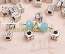 50pcs 5mm Cube Square Tibetan Silver Alloy Loose Spacer Beads Jewelry Findings