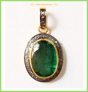 Beautiful Imperil Pendent Emerald & Pave Diamond Stone 925 Sterling Sliver