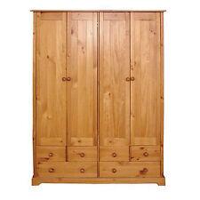 Baltic Pine 4 Door and 6 Drawer Wardrobe - Large Storage Cupboard - Hanging Rail