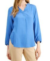Alfani Women's Knit Top Blue Size Medium M Bishop-Sleeve Tie-Back $69 134