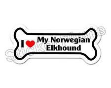 I Love My Norwegian Elkhound Dog Bone Bumper Sticker Decal Db 244