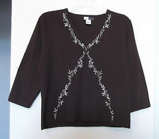 Dane Lewis Size XL Pullover Brown Sweater w/Leaf Embroidery, 3/4 sleeves
