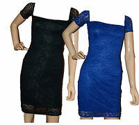 LADIES EX NEW LOOK BLACK BLUE BODYCON LACE PARTY DRESS SIZES 8, 10, 12, 14