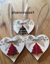 3 X Handmade Tartan Christmas Decorations Shabby Chic Heart Tree Bows Silver