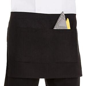 Half Size Waist Apron Bar Waiter Waitress Cafe Pub Restaurant with 2 Pockets.