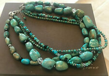 Sterling Silver Clasp Retired N1299 Silpada 4 Strand Turquoise Obsidian Necklace