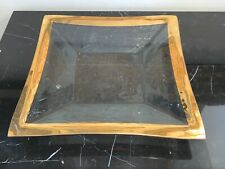 """Annieglass 1994 Signed 11 3/8"""" Square Glass Platter with Gold Edge"""