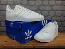 ADIDAS UK 4 1/2 EU 37 1/3 WHITE LEATHER GAZELLE TRAINERS MENS LADIES