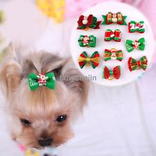20pcs Pet Dog Hair Bows Christmas Rubber Band Bowknot Xmas Grooming Accessories