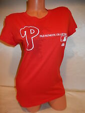 "9601-6 WOMENS Majestic PHILADELPHIA PHILLIES ""COLLECTION"" Baseball Jersey Shirt"