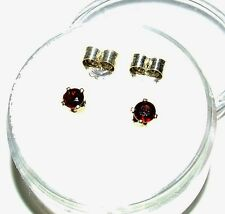 Genuine earth-mined red zircon earring studs in sterling silver ..3 mm gems