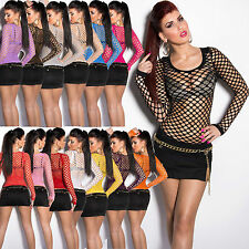 SEXY WOMEN CLUBBING TOP LONG SLEEVE NEW LADIES FISHNET SHIRTS BLOUSE SIZE 6 8 10