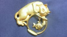 Vintage JJ Jonette Cat Digging in the Fish Bowl Brooch Whimsical and Fun Pin DV6