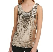 DKNY Womens Blouse Silver Gold Black Size Small S Sequin Scoop-Neck $89 143