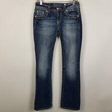 Miss Me Boot Cut Dark Wash Distressed Womens Jeans Size 27x34 JS5654B