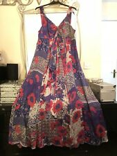 Monsoon Púrpura Pura Seda Floral Floaty Maxi Vestido Talla 22 Boda