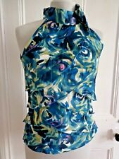 Ladies size 8 Principles teal silky tie neck top occasion evening party