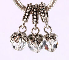 HOT 3pcs silver leaf folder crystal pendant European charm bead bracelet #A678