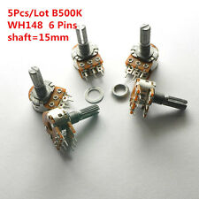 5Pcs B500K 500K WH148 15mm 6 Pin Dual Stereo Linear Potentiometer Double Rotary