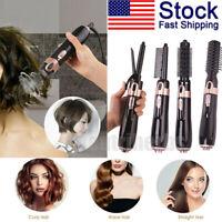 4 IN 1 Hot Air Hair Dryer Brush Electric Hair Straightener Brush Curler Comb