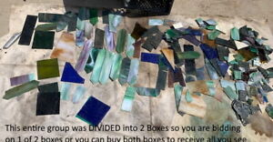 10 Lbs SCRAP STAINED GLASS MIX of LARGE ,MEDIUM & SMALL SIZED PIECES MOSAIC