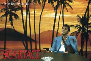 "Scarface - Movie Poster (Every Dog Has Its Day! - Tony Montana Gun) (36"" X 24"")"