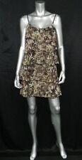 JULIE'S CLOSET NWT Brown/Cream Snakeskin Print Chiffon Tiered Shift Dress sz S