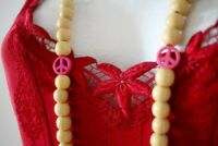 Large Wooden Beads Peace Necklace Beaded Boho Ethnic Tribal Natural Pink