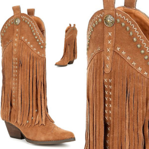 New Very Volatile barrow tan 100% Suede Fringe Western cowgirl boots