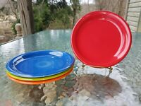set 4 SALAD bistro PLATE scarlet lapis poppy lemongrass NEW  FIESTA 7 1/4""