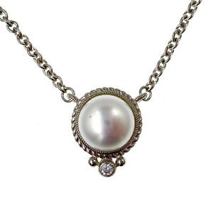 """Judith Ripka Sterling Silver Pearl and CZ Necklace Adjustable 18"""" - 20"""" Length"""