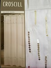 NEW CROSCILL SILVER RAIN WHITE SEQUIN SHIMMER SPA  FABRIC SHOWER CURTAIN