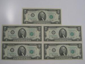 5 CU Crisp 1976 Consecutive Minneapolis $2 FRN Notes I/A Block.  #2