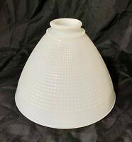 "Vintage Corning 8"" White Milk Glass Waffle pattern Light Shade No.820120"