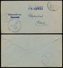 GERMANY 3rd REICH 1944 WEHRMELDEAMT CENSOR FPO ARMY RECORDS OFFICIAL to BELGIUM