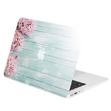 """Pink Hyacinth Turquoise Wooden Matte Hard Case for Macbook Air 13"""" A1369 & A1466"""