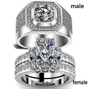 2 Rings Couple Rings Whte Gold Filled Men Ring S925 Silver CZ Women's Ring Sets