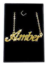 AMBER Collier Prénom 18K Plaqué or - Accessoires Personnalisé De mariée Cadeau