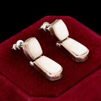 Antique Vintage Deco Mid Century Sterling Silver Mexico TAXCO MOP Earrings 10.2g