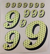 Racing Numbers Number 9 Decal Sticker Pack Gold Black for 1/8 1/10 RC models S01