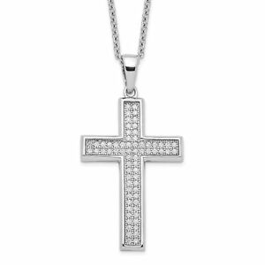 Silver Brilliant Embers Rhodium-plated CZ Polished Cross Necklace QMP294