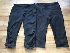 H&M Sport 3/4 Leggings Black Grey Size M UK10-12