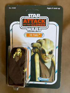 Star Wars - Attack Of The Clones - KIT FISTO Action Figure - On Custom Card