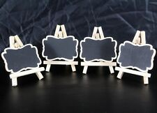 4 Mini Wooden Easel and Blank Chalk Board Display Item for Advertising or Art